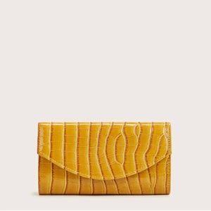 Handbags - Mustard Faux Croc Shiny Leather Clutch Chain Strap